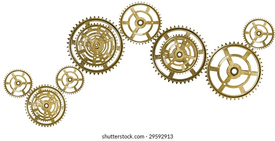 A chain of golden interlocking cogs. Isolated on white.