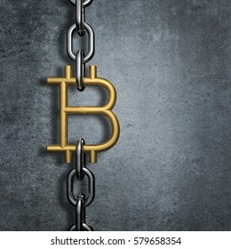 Chain link bitcoin / 3D illustration of metal chain with gold bitcoin symbol link