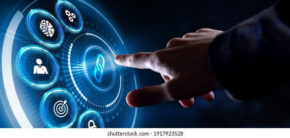 Chain Link icon on abstract blue background. Hyperlink chain symbol concept.3d rendering