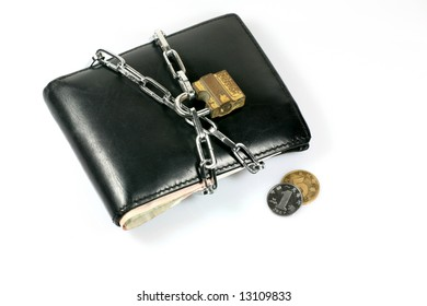 Chain lock Bundle up Wallet Depicting Cut Down Expenses