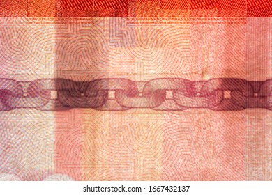 Chain on 100 NOK banknote.Chain on Norwegian krone banknote created to prevent counterfeiters.