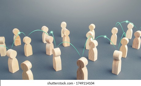 A chain of people connected by lines in a crowd. Transmission of news information and rumors spread. Social science relationships. Teamwork. Cooperation and collaboration. Distribution and expansion