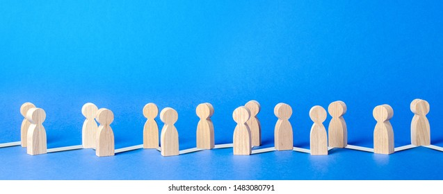 Chain of people figurines connected by lines. Cooperation and interaction between people and employees. Communication and social networks. Dissemination of information in society, rumors.