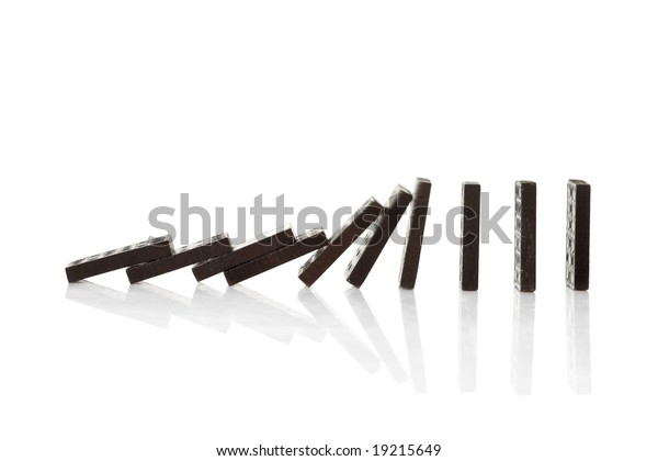 Chain reaction of domino blocks falling down