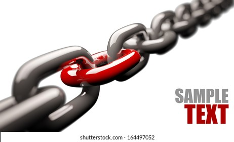 Chain with a red link isolated on white background High resolution 3d