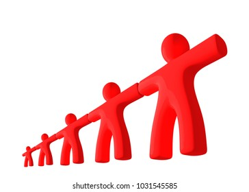 Chain of red people in perspective view isolated on white background. 3d rendered.