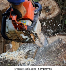 chain saw in action
