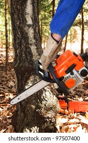 Chain saw in hands