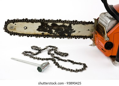 Chainsaw chain images stock photos vectors shutterstock a chain saw with a replacement chain and a tool for installation on a white background greentooth Choice Image
