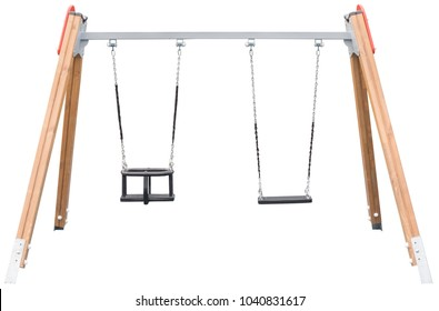 chain swings hanging on white background