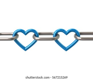 Chain with two blue heart links 3d rendering isolated on white background
