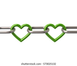 Chain with two green heart links 3d rendering isolated on white background