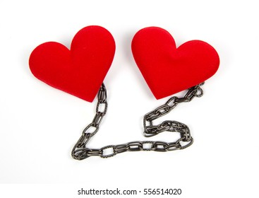 chain of two heart isolated on white background