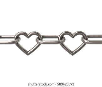 Chain with two heart links 3d rendering isolated on white background