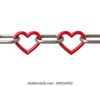 Chain with two red heart links 3d rendering isolated on white background