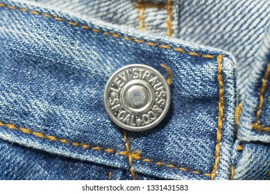 Chainat Province, Thailand, January 30, 2019. illustrative editoria closeup detail of levi's red tag on levi's jeans. Levi Strauss is a famous American clothing company
