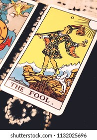 "Chainat Province, Thailand, July 11, 2018. illustrative editorial tarot cards ""THE FOOL ."""