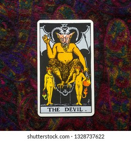 "Chainat Province, Thailand, March 4, 2019. illustrative editorial tarot cards ""THE DEVIL ."""