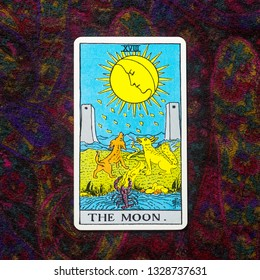 "Chainat Province, Thailand, March 4, 2019. illustrative editorial tarot cards ""THE MOON ."""