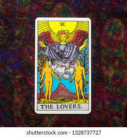 "Chainat Province, Thailand, March 4, 2019. illustrative editorial tarot cards ""THE LOVERS ."""