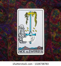 "Chainat Province, Thailand, March 4, 2019. illustrative editorial tarot cards ""ACE of SWORDS."""