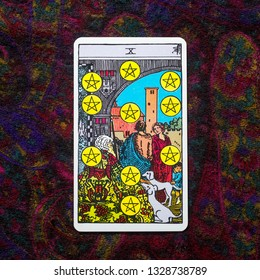"Chainat Province, Thailand, March 4, 2019. illustrative editorial tarot cards ""TEN of PENTACLES."""