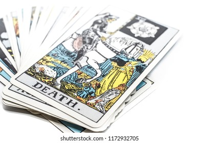 "Chainat Province, Thailand, September 6, 2018. illustrative editorial tarot cards ""DEATH ."""
