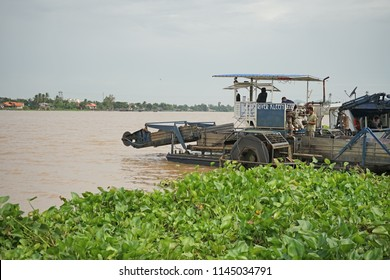 Chainat Thailand , July 30 2018 :Water Hyacinth Removal Boats The water hyacinth is left. Hyacinth is one cause The water in the river is not easy and heavy flooding