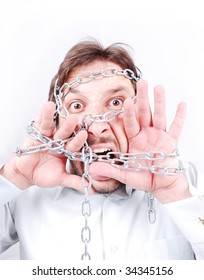 Chained man screaming