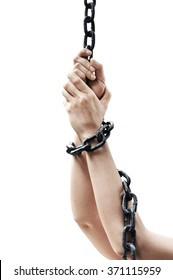 Chained with women Hands is on white background with clipping path
