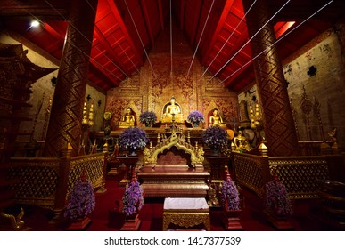CHAING MAI - June 4, 2019 : The Buddha, Phra Singha at Wat Phra Singh Woramahaviharn. This temple is the one of famous temples in the city centre of Chiang Mai.Thailand
