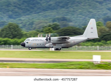 Chaing Mai Thailand 15 july 2016 : The pilot on C-130 Military cargo aircraft was adding high power and taking off at Chaing Mai international airport.