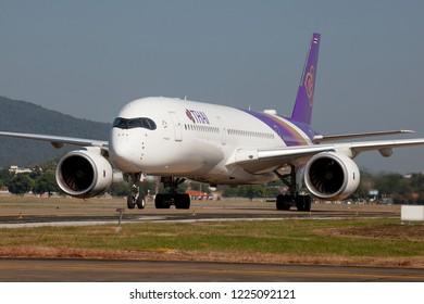 Chaing Mai Thailand 2 NOV 2018: Thai Airways Airbus A350-900XWB was taxing to terminal in Chaing mai international airport.