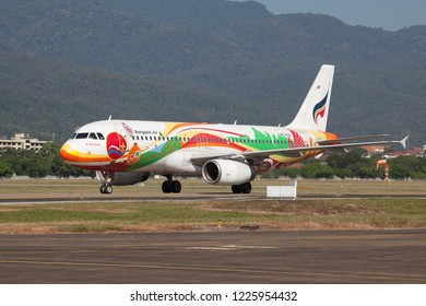 Chaing Mai Thailand 2 NOV 2018: Bangkok Airways Airbus A320-200 with special livery was taxing to terminal in Chaing mai international airport.