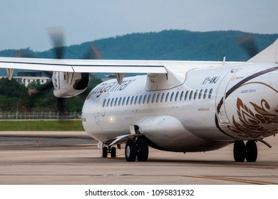 Chaing Mai Thailand 20 MAy 2018: Myanmar international airways ATR72-500 was taxing to runway in Chaing Mai international airport in evening