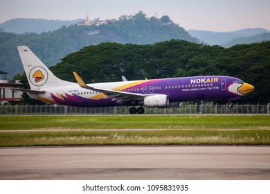 Chaing Mai Thailand 20 MAy 2018: Nok air Boeing 737-800 HS-DBA wastaking off from Chaing Mai international airport in evening to Bangkok.