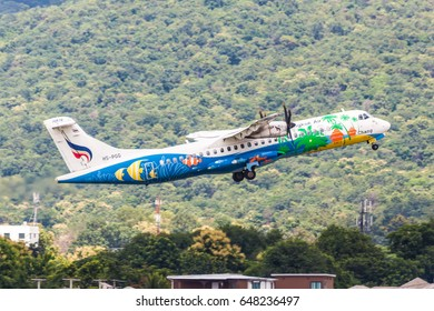 Chaing Mai Thailand 25 aug 2017 : Bangkok airways by ATR72-500 was taking off from Chaing mai international airport and pass mountain and forest.