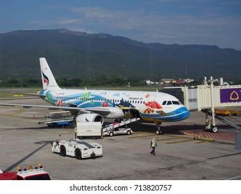 Chaingmai Thailand December 2015, Bangkok airway parking at the Chaingmai Airport.