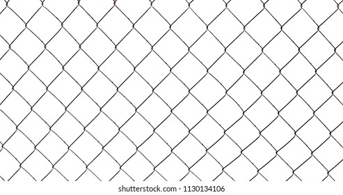 Chain-link fence isolated on white background, photo texture