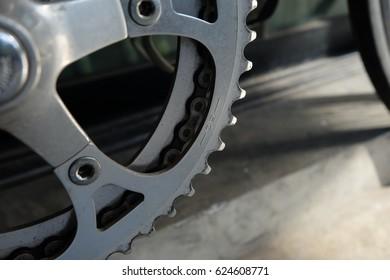 Chainrings of vintage bicycle with 50 teeths. Closeup of vintage bicycle chainrings.