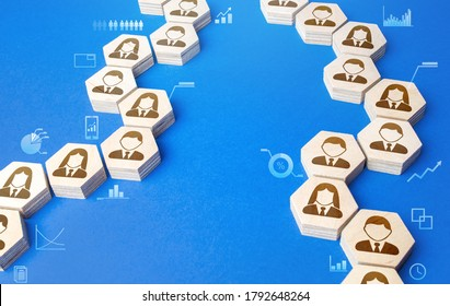 Chains of connected people with graphical information indicators. Chain reaction, spread of information and rumors exchange. Communication. Cooperation, collaboration. Partnership, unity, assistance.