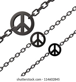 chains with metal peace symbol on white background - 3d illustration