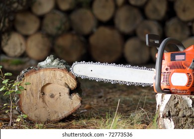 Chainsaw in the garden