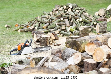 Chainsaw on the ground beside piles of freshly cut firewood