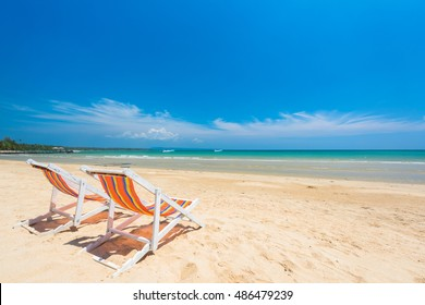Chair beach for relaxation at the beautiful exotic beach, Located Koh Mak Island , Thailand