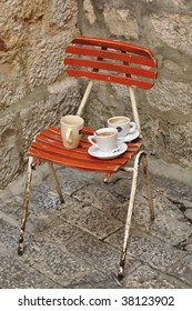 chair with coffee cups in Split Croatia