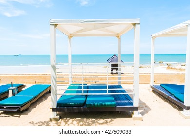 Chair deck on the beach and sea - Boost up color Processing