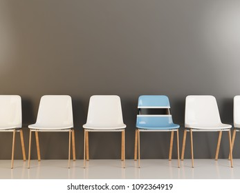 Chair with flag of botswana in a row of white chairs. 3D illustration