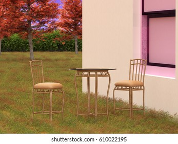 Chair in grass field, 3D rendering, 3D illustration