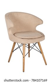 Chair isolated. Modern chair, beige. Wooden furniture.